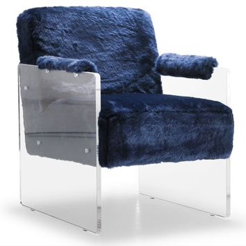 Ella Navy Fur Accent Chair