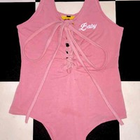 SWEET LORD O'MIGHTY! BABY LACE UP BODYSUIT IN PINK