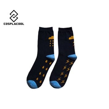 [COSPLACOOL] New lightning cloud pattern men in tube socks cotton autumn winter chaussette homme calcetines