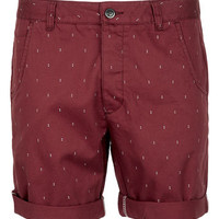 Burgundy Chino Dot Shorts - Mens Shorts  - Clothing