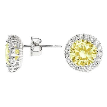 CZ by Kenneth Jay Lane - Classic Canary Pavé Round Pierced Stud Earring