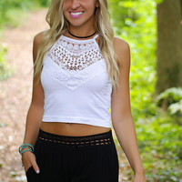Top Of The World Lace Crop Top (White)