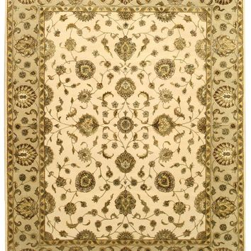 EORC Hand-knotted Wool & Silk Beige Traditional Oriental Flower Jaipur Rug
