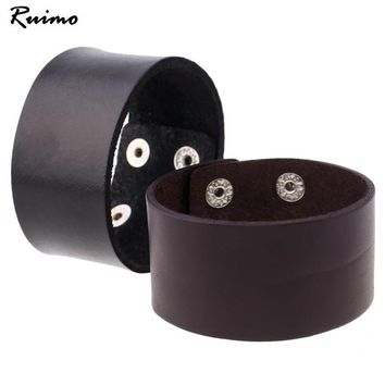 Fashion Jewelry Alloy Rivet Bracelets Men's Bangle Wide Leather Bracelet Vintage Simple Personality