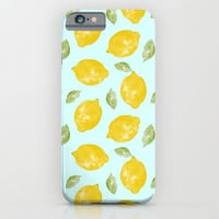 Lemon and Leaves Pattern iPhone & iPod Case by Doodle's Designs
