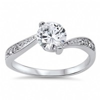 Caprice's Sterling Silver Twisted Round Cubic Zirconia Engagement Ring