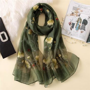 Wool Silk Floral Embroidery Scarf