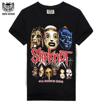 Rocksir 2015 Summer Style Fashion Men T Shirt Black T-Shirt Tshirt Men's Shirt Cotton Rock Band Slipknot Print Hip Hop Tee