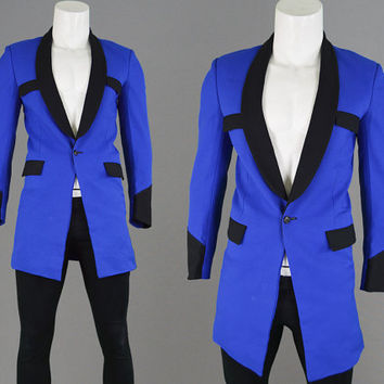 d258de32a646 Vintage 70s 50s Mens Teddyboy Jacket Drape Jacket Teddy Boy Rock n Roll  Royal Blue Blazer