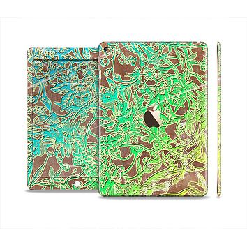 The Bright Green Floral Laced Skin Set for the Apple iPad Air 2