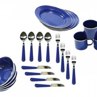 Stansport® 11220 - Enamel Camping 24-Piece Tableware Set