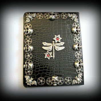 iPad 2 3 4 foldable Case-crocodile pattern embossed leather ipad case--gothic ipad case-skull ipad case-steampunk ipad case-black case