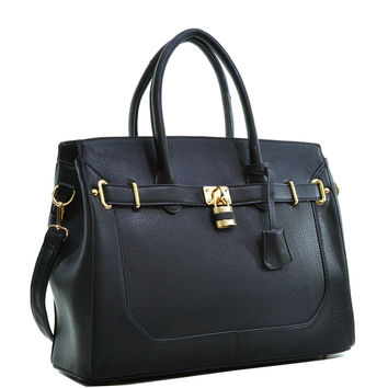 Dasein(R) Faux Leather Padlock & Key Satchel with Shoulder Strap