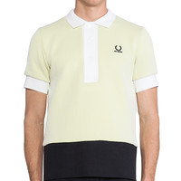 Fred Perry x Raf Simons Mesh Colour Block Fred Perry Shirt in Yellow