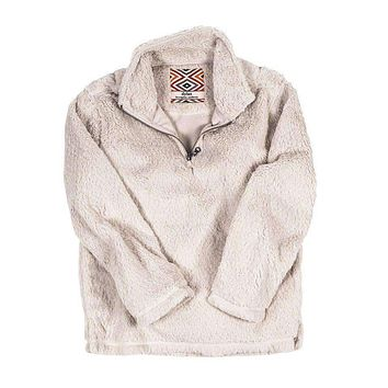 CHILD'S Silky Pile Pullover 1/4 Zip in Winter White by True Grit