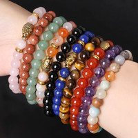 Hot Sale 8mm Natural Stone Bracelet, Stone Beads Mix Style Choose Elastic Rope Bracelet, Ancient Gold Buddha Charm Bracelet