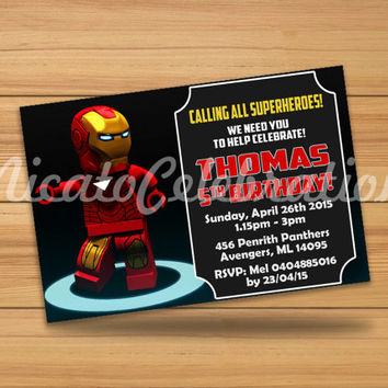 Lego Iron Man Design Invitation - Digital File