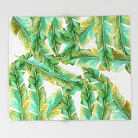 Banana leaves Throw blanket, sherpa fleece Blanket