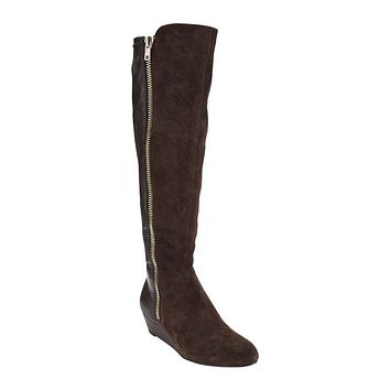Isaac Mizrahi Live! Women's Suede & Stretch Wedge Boots with Zipper