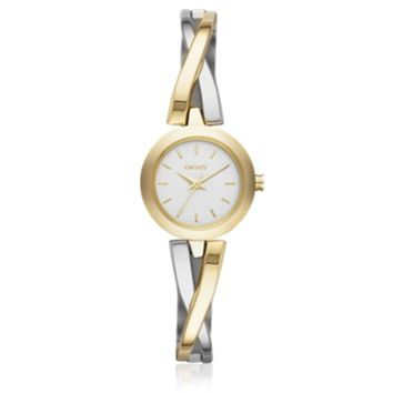 DKNY Designer Women's Watches Crosswalk Round Dial Two Tone Stainless Steel Women's Watch
