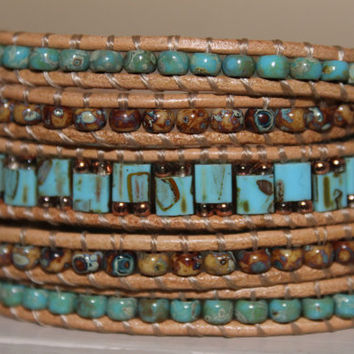 Leather Wrap bracelet ,Turquoise brown Picasso beads, summer spring bracelet, trending gift