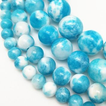 Natural Stone Blue And White Double Color Zebra Jade Round Loose Beads Pick Size 6/8/10/12MM For Jewelry Making DIY