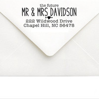 Personalized Rustic Wedding Stamp - Future Mr & Mrs Address with Heart, Arrow - Soon To Be Mrs - Custom Engagement Gift, Couple Shower Gift