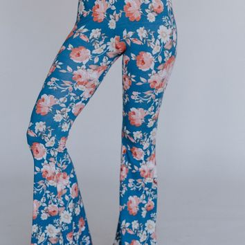 Cher Floral Flare Pants - Chambray