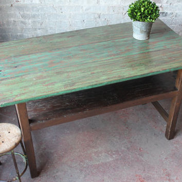 SALE Vintage Kitchen Island Table Green Teakwood Warm Industrial Table Bohemian Console Table