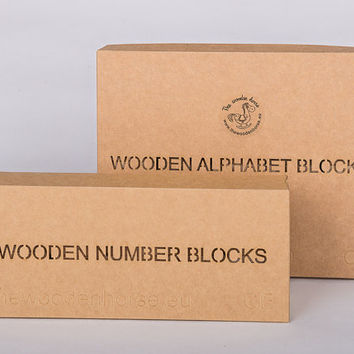 Set of 30 wooden handmade alphabet and numbered blocks, blocks with numbers and letters