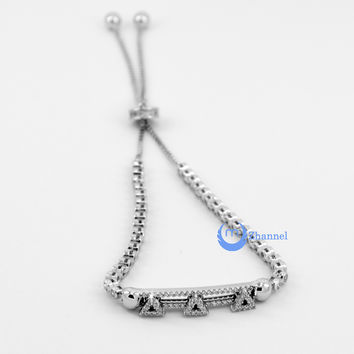 Contemporary Modern Bracelet with Moving Triangles Sterling Silver CZ
