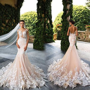 Sexy Sheer Mermaid Wedding Dresses 2017 Lace Applique Illusion Neck Cap Sleeves Backless Bride Gowns Robe De Mariage