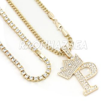 Iced Out Crown P Initial Pendant Necklace Set
