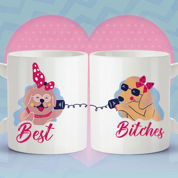 Set of Best Bitches Coffee Mug - Dog Coffee Mugs [Gift Idea For Her - Makes A Fun Present For Your Best Friend]