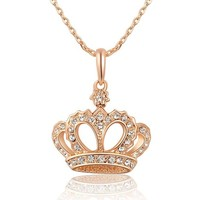 Queen Crystals Necklace with Imperial Crown Pendant Rose-Gold Plated WA635