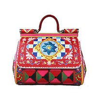 DOLCE & GABBANA Miss Sicily Mambo Carretto Ornament Dauphine Leather Medium Bag Handbag Purse Tote