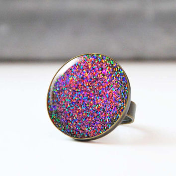 BFF rings, Violet glitter ring, Multi colored statement ring, Adjustable glass dome cocktail ring, Best friend gift, Bohemian jewelry