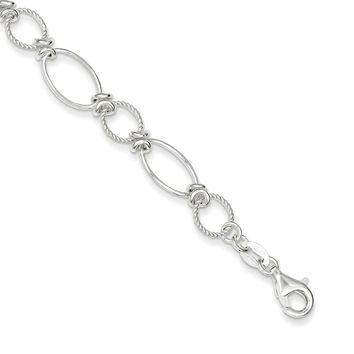 Sterling Silver 8mm Polished & Textured Fancy Circle & Oval Link Bracelet