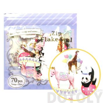 Panda Giraffe Penguin Shaped Circus Animal Photo Sticker Flake Seals From Japan | 70 Pieces