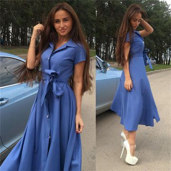 FUNOC Fashion Women Short Sleeve Maxi Dress Summer Turn-down Collar Buttons Long Shirt Dresses Waist Sashes Casual Dress Green