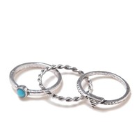 With Love From CA Turquoise 3 Midi Ring Set - Womens Jewelry - Silver - One