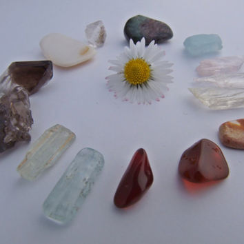 WIRE WRAPPING crystal Selection - JEWELRY -  Kunzite, Aquamarine, Herkimer Diamond, Smoky Quartz, Blue Topaz, Red & White Opal, (3)
