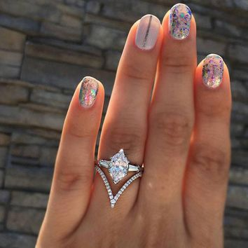 Best Selling Silver Color Micro-inlay Zircon Ring for Women Girls Simple Geometric Design Finger Rings with Stone Jewelry bague