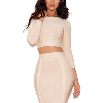 new brand women's dress sexy hl bandage dressOv-neck 7 quarter sleeve bodycon khaki party dresses