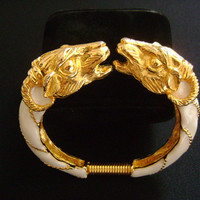 Vintage DONALD STANNARD Striking Double Twin Ram Ram's Head Face to Face Goldtone With White Ivory Enamel Spring Hinged Bypass Cuff Bracelet