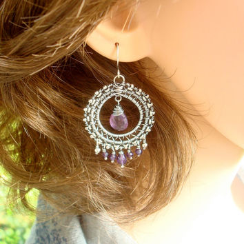 Purple earrings, Victorian style handmade wire wrapped jewelry in amethyst and sterling silver, christmas gift idea