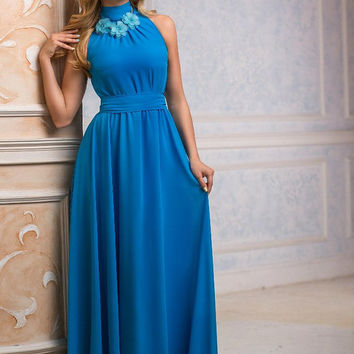 Blue Maxi Dress, Chiffon, long evening dress, Bridesmaids Dress, Formal dress, Evening Gowns, Special occasion womens dress, Party