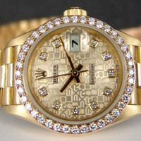 ROLEX - 18kt Gold Ladies PRESIDENT Champagne Jubilee Diamond 69138 SANT BLANC