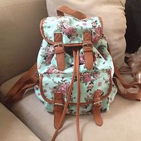 Mint Pink Rose Green Floral Backpack Bookbag