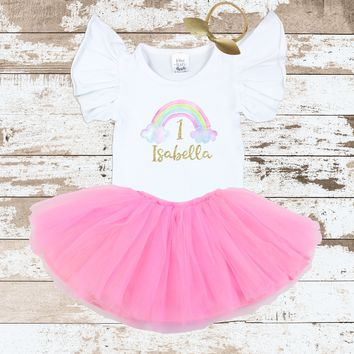 Personalized Rainbow Flutter Pink Tutu Outfit